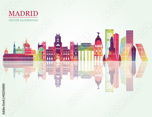 Madrid skyline detailed silhouette. Vector illustration