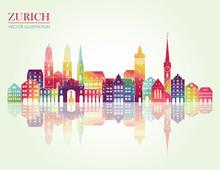 Zurich Skyline Detailed Silhou...
