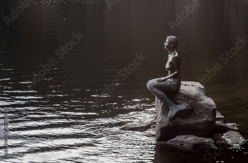 Photographie  Statue of girl-mermaid on a rock near a pond