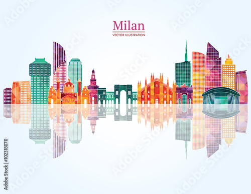 Milan skyline. Vector illustration Poster