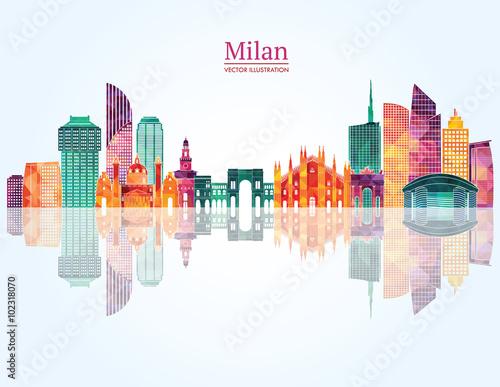Carta da parati Milan skyline. Vector illustration