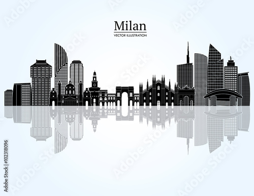Photo Milan skyline. Vector illustration
