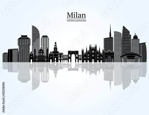 Milan skyline. Vector illustration Wallpaper Mural