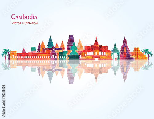 Foto  Cambodia Landmark skyline. Vector illustration