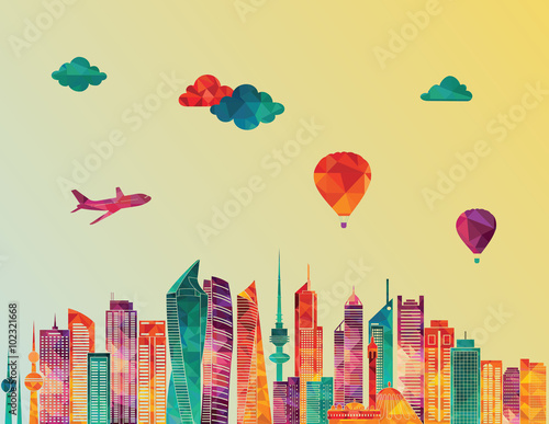 Fotografie, Obraz  Kuweit detailed skyline. Vector illustration