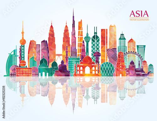 Asia detailed skyline. Vector illustration Fototapete