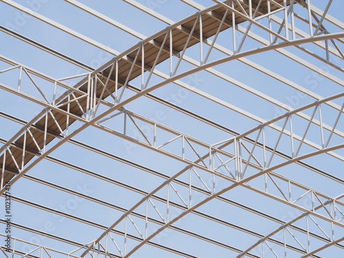 Foto op Plexiglas Stadion Structure of roof made from steel truss