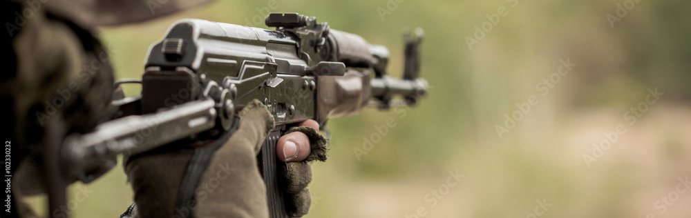 Fototapeta Automatic weapon for army