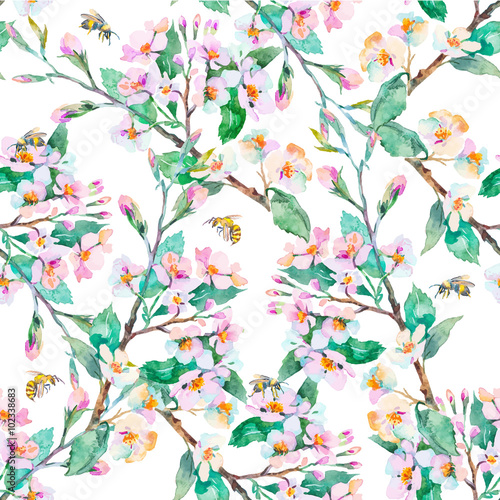 Cotton fabric Spring pattern.Flowering branches and bees. Watercolor. Vector.