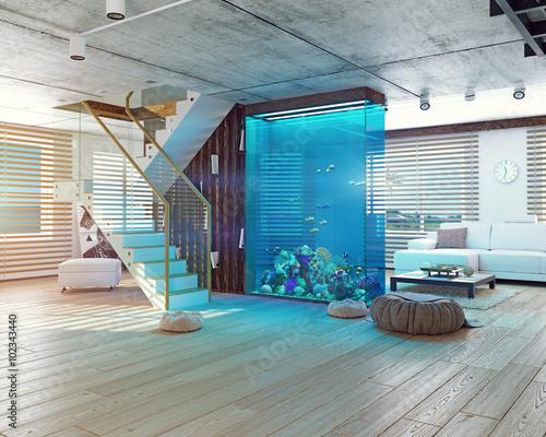 Fotografie, Obraz  The loft interior with aquarium