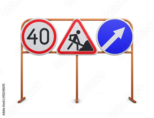 Fotografía  Speed limit, repair work, detour road signs on a white backgroun