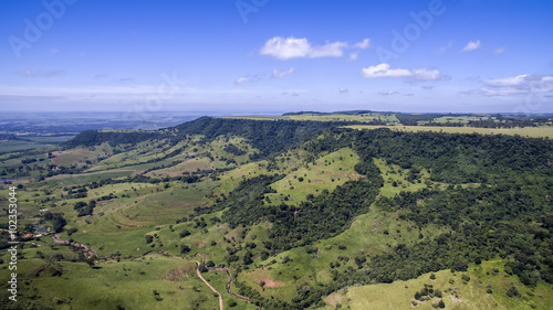 Fotografie, Obraz  Aerial photo of Mountain landscape in São Pedro, SP, Brazil