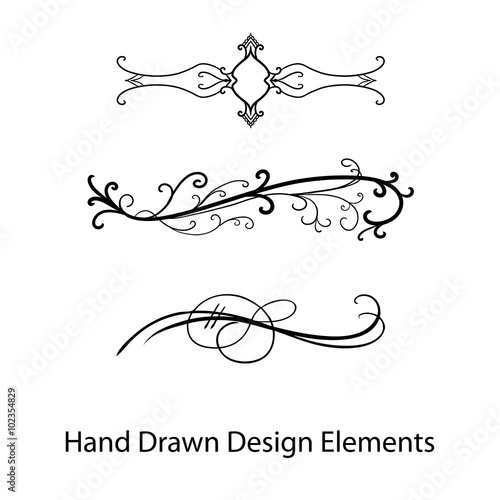 vector design element, beautiful fancy curls and swirls divider or underline design, black ink lines Poster