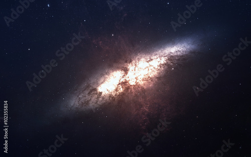 Stampa su Tela Nebula and stars in deep space, glowing mysterious universe