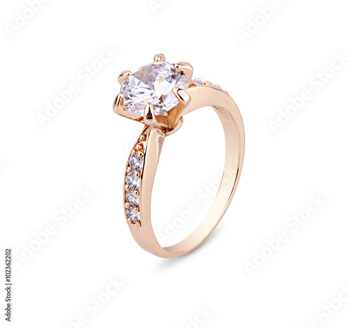 plakat Jewellery ring with diamond isolated on white