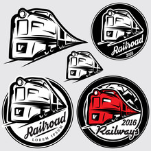 Set Of Emblems In Retro Style With Locomotives And Railroad