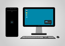 Desktop PC, Flat Design