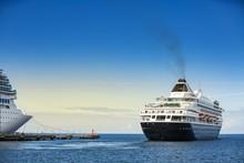 Cruise Ship Leaving The Dock. Big Ocean Liner Leaving A Port