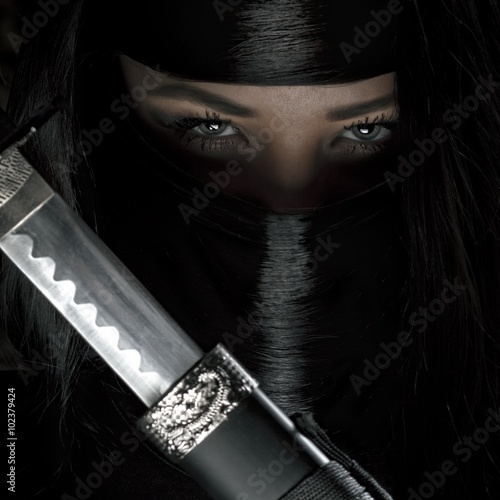 Beautiful long haired ninja girl Poster
