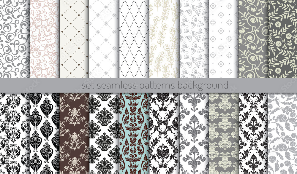 Fototapety, obrazy: Vector damask seamless pattern background.pattern swatches included for illustrator user, pattern swatches included in file, for your convenient use.