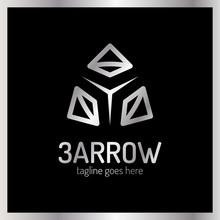 Three Arrows Logo. Luxury, Royal Metal Silver