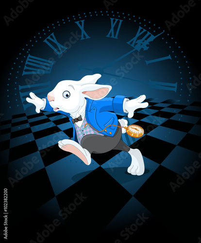 Photo Stands Fairytale World Running White Rabbit