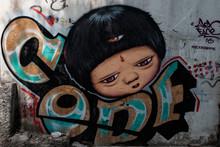 Street Art Paint On Wall In Bangkok