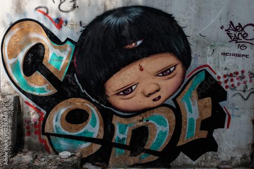 street art paint on wall in Bangkok © gastuner