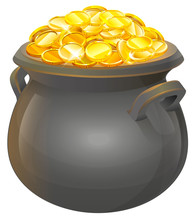 Pot Of Gold Coins. Full Cauldr...