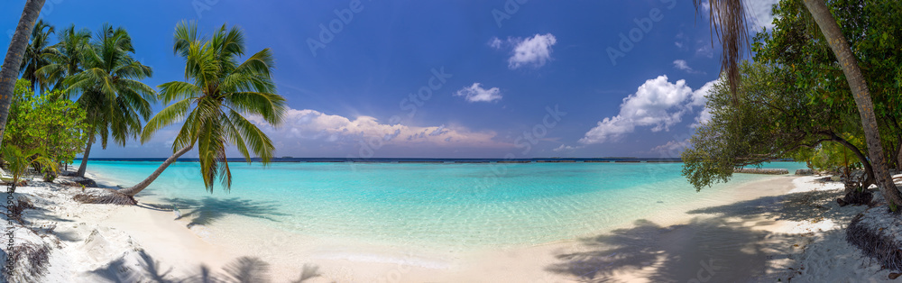 Fototapeta Beach panorama at Maldives with blue sky, palm trees and turquoi