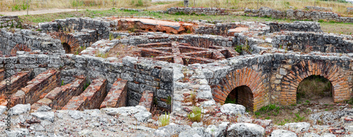 Poster Ruine Hypocaust structure used to heat the Baths water of the Cantaber Domus House. Conimbriga in Portugal; is one of the best preserved Roman cities on the west of the empire.