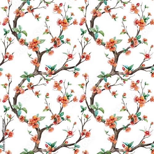 Cotton fabric Watercolor raster sakura pattern