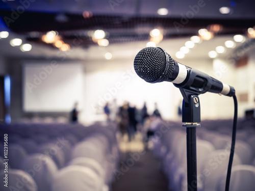 Fotografie, Obraz  Microphone in Conference Seminar room Event Background