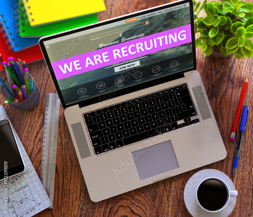 Photo  We are Recruiting on Landing Page of Laptop Screen