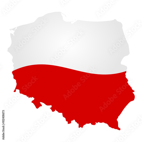 Fotografie, Obraz  Poland country silhouette vector