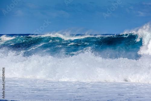 Stickers pour portes Eau vague géante, plage de l'Etang-Salé-les-Bains, île de la Réunion