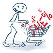 Strichmännchen mit Einkaufswagen und Sale