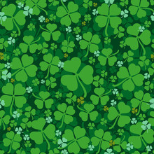 Green Leaves Clover Seamless P...