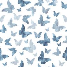Seamless Watercolor Gray Butterflies Pattern