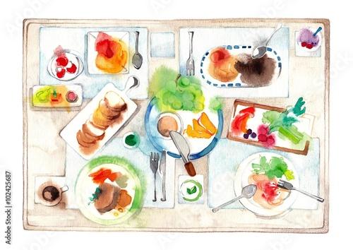 Deurstickers Klaar gerecht 賑やかな食卓、淡色