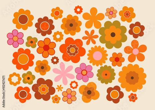 Fleurs des années soixante-dix Canvas Print