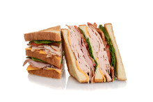 Sliced Chicken Club Sandwich
