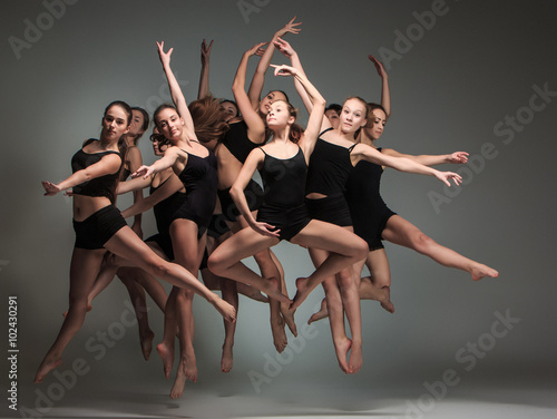Poster Dance School The group of modern ballet dancers