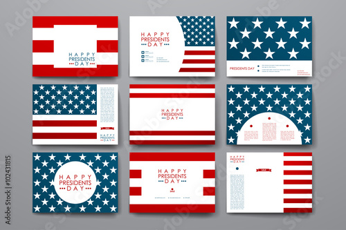 Fotomural Set of modern design banner template in Presidents Day style