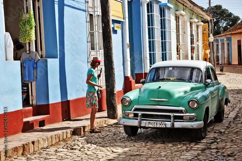 Cuba, Trinidad, Street Scene Billede på lærred
