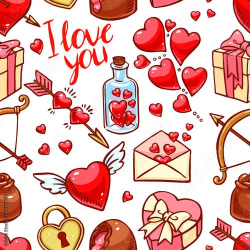 Materiał do szycia Bezszwowe tło valentine's Day
