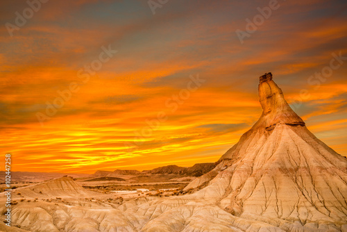 Photo sur Toile Orange eclat Castildetierra at Bardenas Reales, Navarre (Spain)