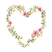 Watercolor Heart Of Flowers.
