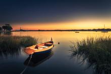 Small Orange Boat In Tall Grass