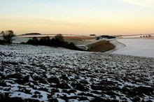 Early Morning Light On The Yorkshire Wolds Partly Covered By Snow, Showing The Very Chalky Land.